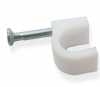 Round Cable Clips - Size 7mm (White) 100 pack